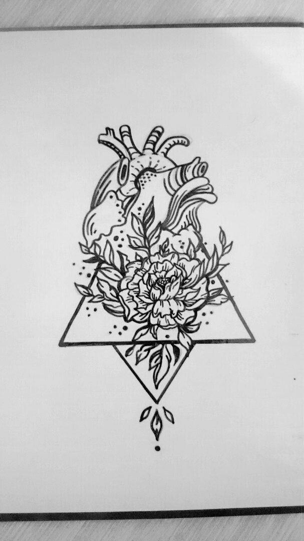 Сердце \ цветок \ тату \ эскиз \ геометрия \ дотворк