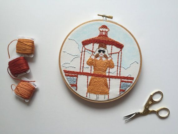 """Suzy Bishop in Moonrise Kingdom // Wes Anderson // 6"""" Embroidery Hoopart, White"""