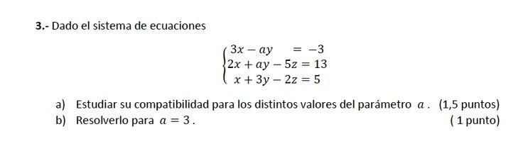 Ejercicio 3A 2014-2015 Junio. Propuesto en examen pau de Canarias. Matemática. Sistemas de ecuaciones.