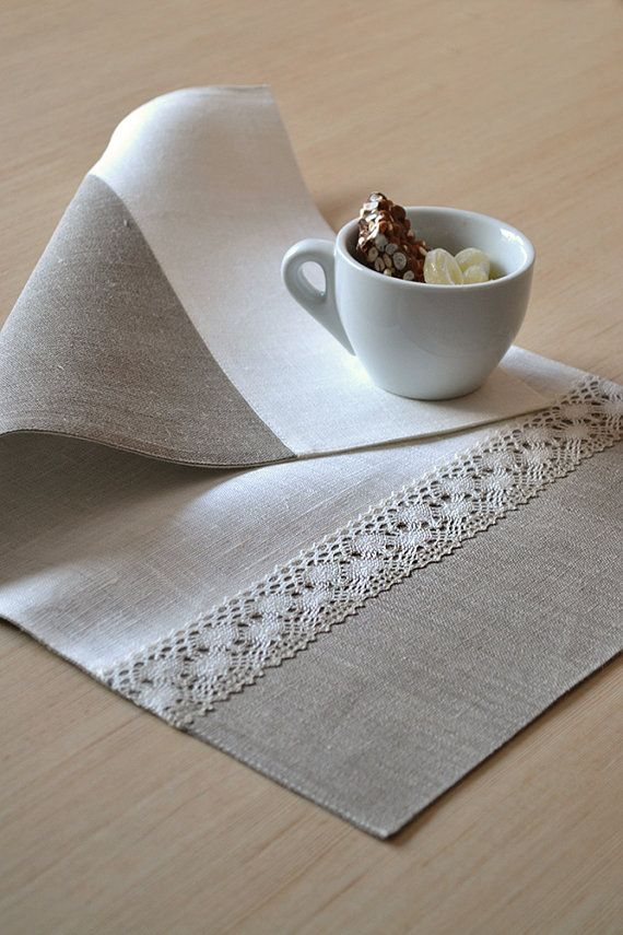 Linen Placemats Reversible Natural Placemats by LinenLifeIdeas