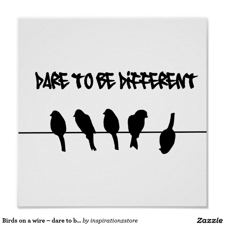 Birds on a wire dare to be different poster will let you celebrate your individuality. #inspirational #motivational