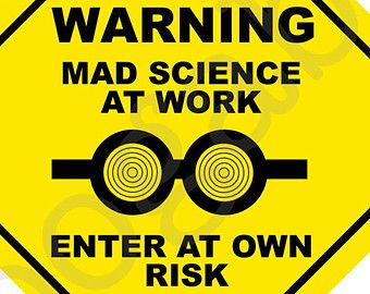 Mad Science Caution Welcome Sign part of Science Party Theme INSTANT DIGITAL DOWNLOAD
