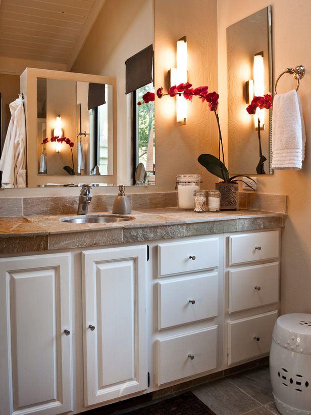 natural tile counter: Bathroom Design, Contemporary Bathrooms, Design Ideas, Small Bathrooms, Bathroom Ideas, Bathroom Lights, Gray Counter Bathroom, Eclectic Bathroom, Master Bathroom