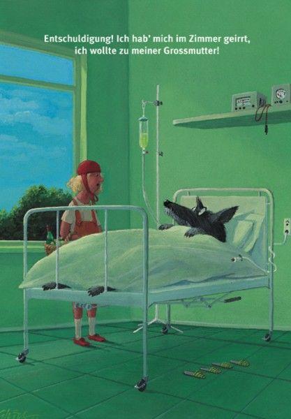 Großmutter: Illustration by Gerhard Glück (10,5 x 14,8 cm Postkarte, €1.00) #illustration #Gerhard_Glueck #little_red_riding_hood