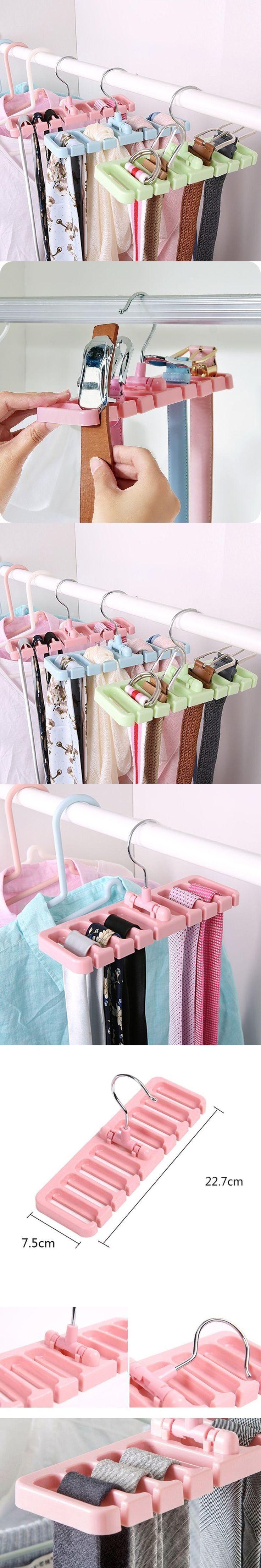 Multifuction Storage Rack Tie Belt Organizer Rotating Ties Hanger Holder Closet Organization Wardrobe Rack Space Saver #tiesorganization #tiesstorage