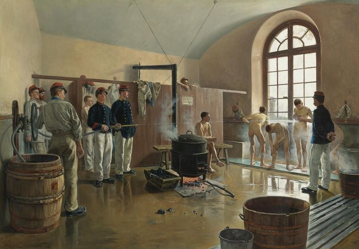 Eugene Chaperon (French, 1857-1957) | The showers at the regiment. Oil on canvas, 113 x 161,3 cm.