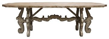 like the color French Country Rustic Scroll Farmhouse Dining Table - traditional - dining tables - Kathy Kuo Home