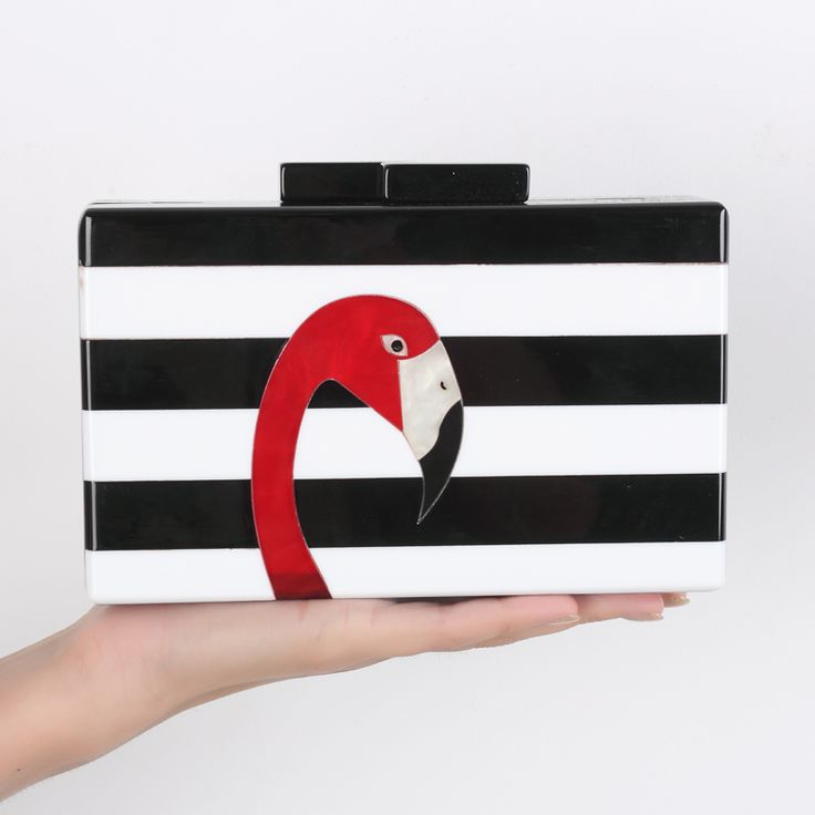 2017 Women messenger bags brand fashion wallet European high-end elegant black and white striped acrylic Flamingo casual clutch