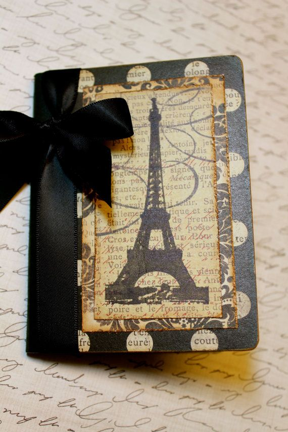 Altered Mini Composition Journal Notebook - Eiffel Tower - With bow