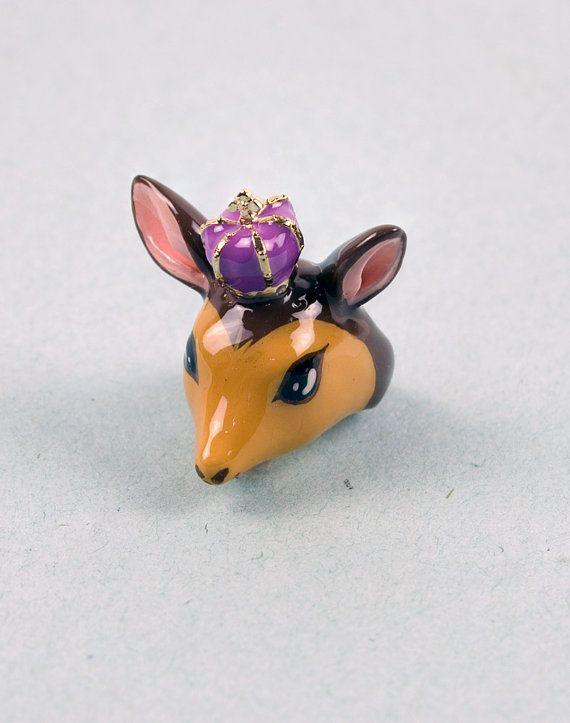 Bambi Brown Ring  Deer animal ring by Modernaked on Etsy