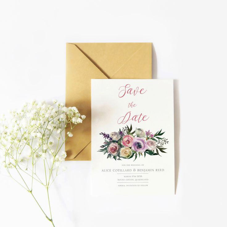 Save the Date with a floral and minimal theme #savethedate #australia #minimaldesign #florals #watercolours #thehellobureau #weddings