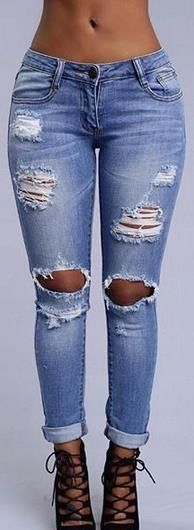 Low Waist Holes Ripped Elastic Straight Skinny Jeans