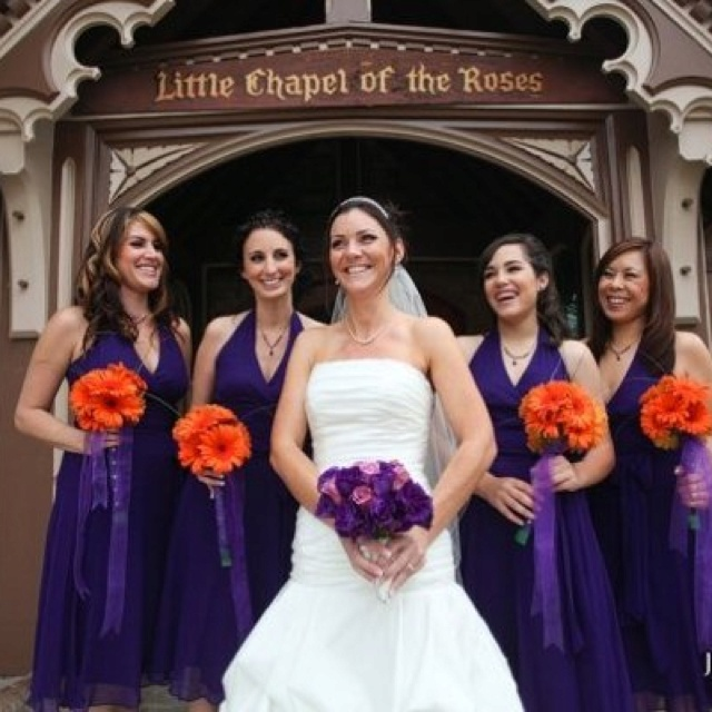 Purple and orange wedding party. I like the dress style & it looks good for summer weather!