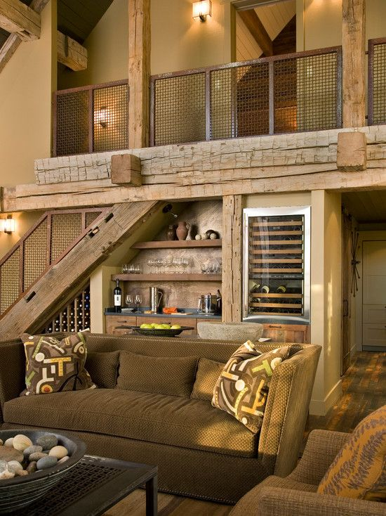 Furniture: Contemporary Lodge With Rustic Living Room And Wine Storage  Under Stairs Decor Also Screen