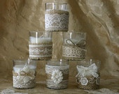 Burlap and lace wedding votives Wedding tea by Bannerbanquet