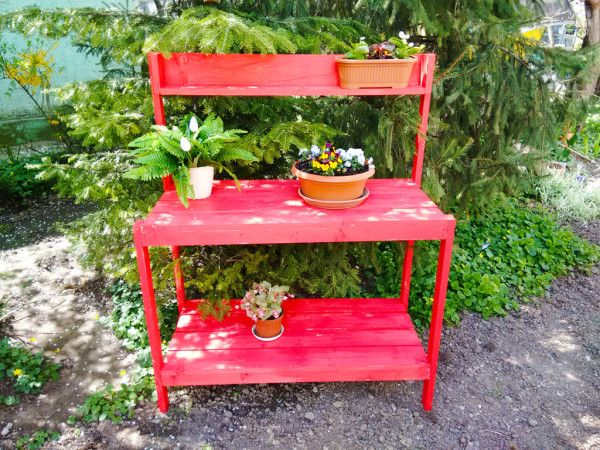 Wood Potting Bench | Free Outdoor Plans – DIY Shed…
