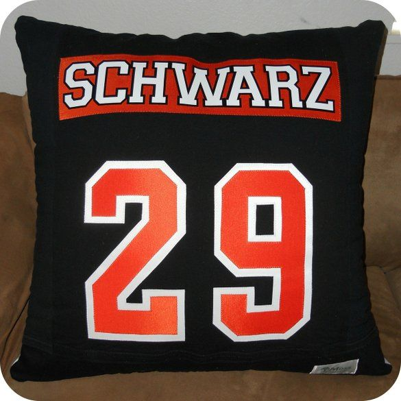 Hockey T-Shirt Pillow, Reverse Side with Name and Jersey Number, by Moss Quilts & Embroidery at CustomMade.com