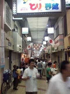 「第22回生野銀座商店街夏祭り」  商店街にも「祭」のノボリ。わくわくする日です。
