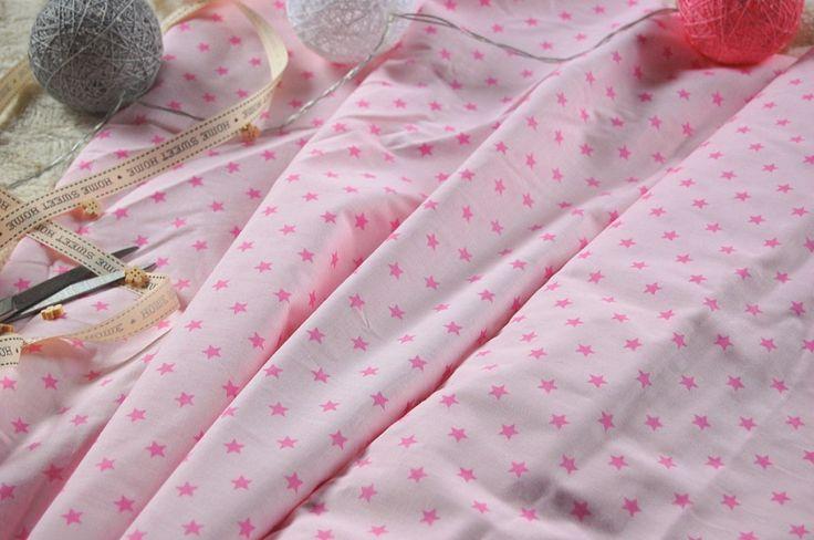 Tkanina bawełniana różowe gwiazdki  Fabric pink stars