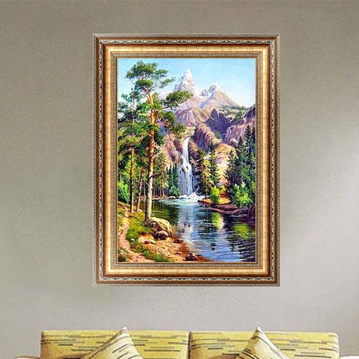 This is diy diamond painting,not finished picture,need you finish it by yourself. Pattern: Landscape. DIY Diamond painting production steps Uncover tape drawing above, you will see a lot of symbols corresponding to the color coding.