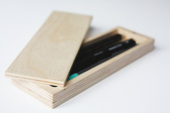 wooden pencil box  handmade  personalized goft or by seanlamps