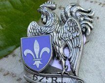 Médaille vintage Français écusson militaire coq lys fleur émail bleu rouge de médailles or cheval star signé paris