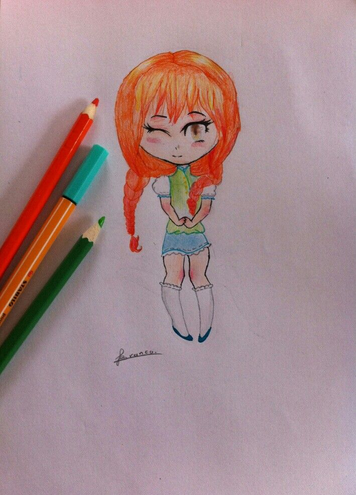 Kawaii girl with orange braids