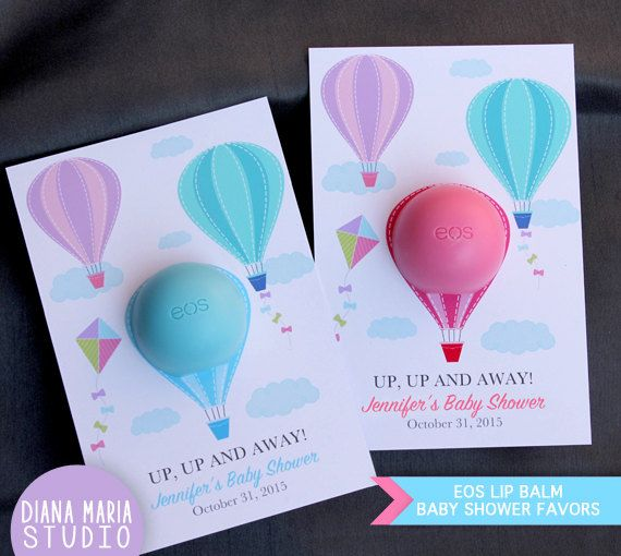 EOS lip balm Air Balloon Baby Shower Favors EOS lip balm - Favor Card Template…