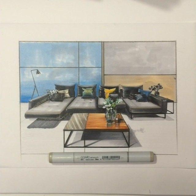 Продолжаю начатый #sketch дивана компания #RolfBenz ✏️✒️📐 Стоп Снято!🎬👍