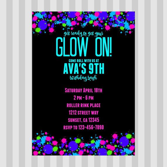 Glow In The Dark Birthday Invitation  Glow Party by Ashoptastic