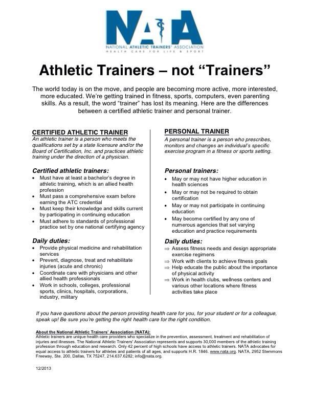 Athletic trainers, not trainers.