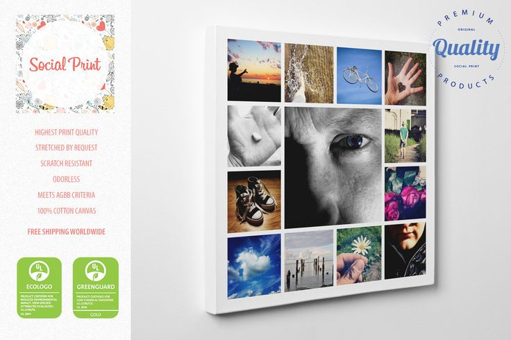 Photo Canvas Collage #1, framed with your photos, FREE SHIPPING, Instagram prints, square photos, square collage, best gift, photo print by SocialPrint on Etsy