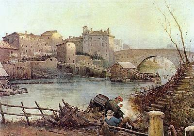 Ettore Roesler Franz, (Italian, 1865-1907): Acquarello:  Isola Tiberina