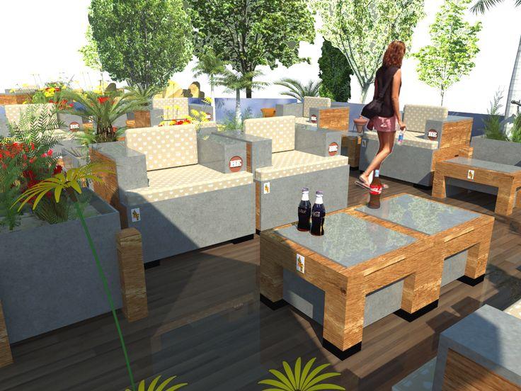 Soft 2016. Panorámica de conjunto en terraza propuesta para hotel en formentera.