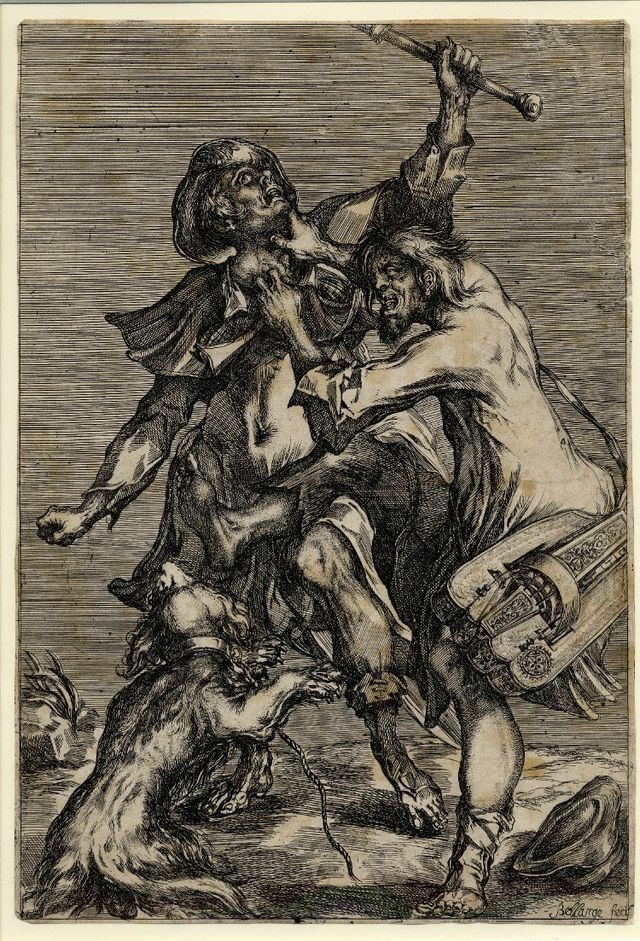 Hurdy-gurdy player attacking a pilgrim (c.1614)