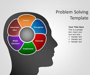 Free brain PowerPoint template is a nice PPT template for Problem Solving presentations but also useful for other presentation needs.