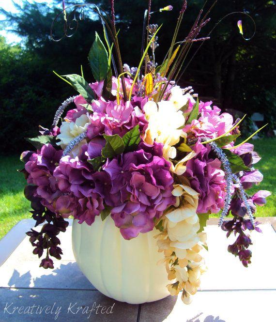 White / Cream & Purple Pumpkin Flower Table Centerpiece Autumn Fall Wedding Beautiful on Etsy, $85.00