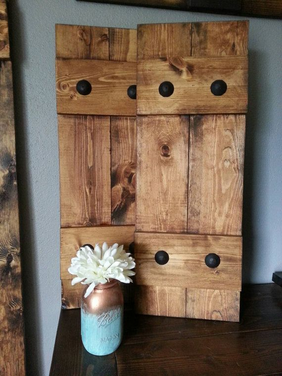 Rustic Wood Shutters With Clavos Decorative By Woodennail On Etsy