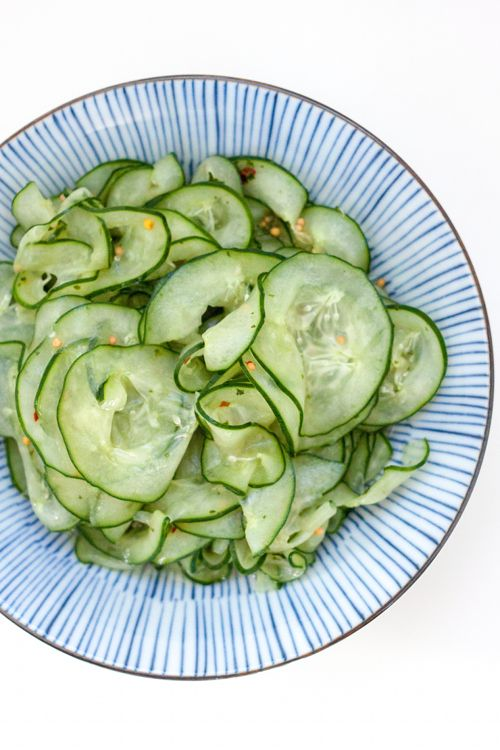 Cucumber Salad with Cilantro Lime Honey Dressing by redshallotkitchen #Salad #Cucumber #Healthy