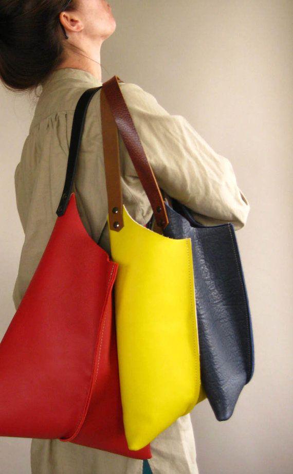 scrappyrobot lemon yellow leather purse