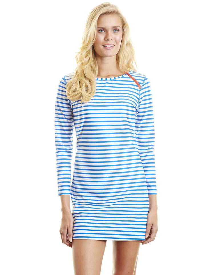 Ladies Swim Dress, Blue & White Stripe - UPF50+