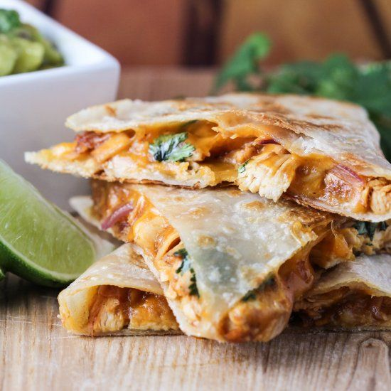 Pineapple BBQ Chicken Quesadillas