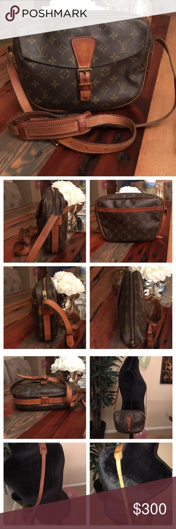 "Authentic Louis Vuitton Jeune Fille GM 100% Authentic Louis Vuitton Jeune Fille GM.  Monogram canvas has no scratches or tears.   Piping is good.  Leather has no cracks and stitching is good.  Strap has wear but no cracks and stitching is good.   Hardware has tarnish.  Pockets are sticky need cleaning.   Inside main area is clean and nice.  W9.84xH7.48xD2.16"".  I do not trade. Louis Vuitton Bags Crossbody Bags"