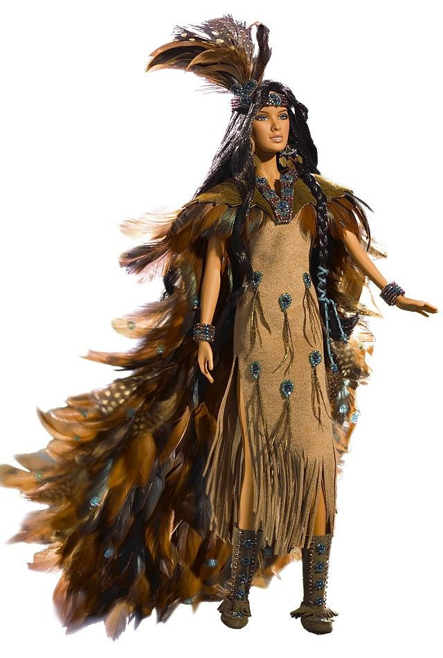 2006 Wind Rider Barbie ~ Inspired by the spirit of the Native American world and the glory of the eagle, Wind Rider Barbie represents a woman who walks reverently through sacred land full of ancestral wisdom. At one with Mother Earth, the woman passes under Father Sky as part of the circle of life imbued with the majestic Native American heritage as beautiful as a dream.