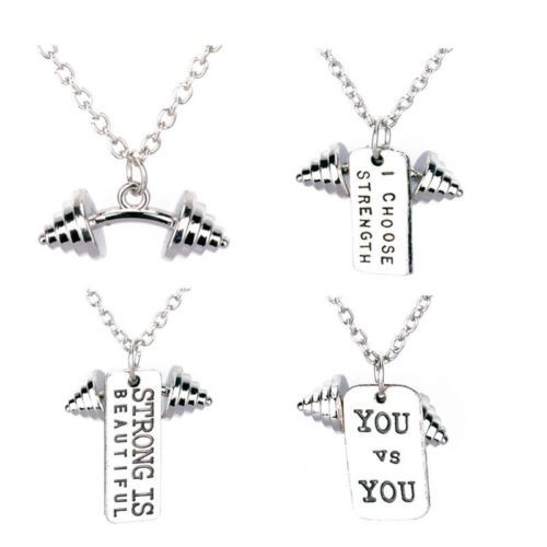 #Dumbbell pendant necklace #fitness #weightlifting gym jewelry bodybuilding charm,  View more on the LINK: http://www.zeppy.io/product/gb/2/262551373292/