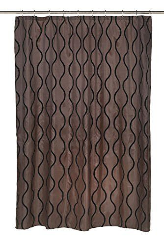 Royal Bath Squiggly Lines Geneva Fabric Shower Curtain with Poly Taffeta Flocking in Black/Brown Size: 70 inch x 72 inch