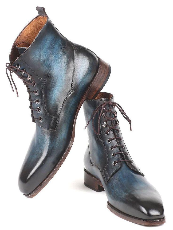 Paul Parkman Men's Blue & Brown Leather Boots