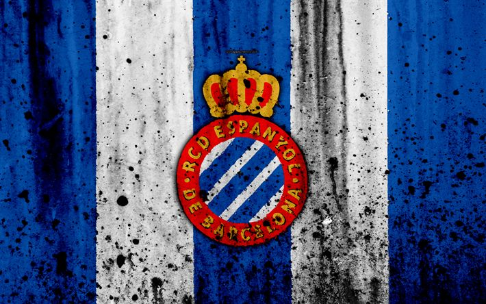 Download wallpapers Espanyol, 4k, grunge, La Liga, stone texture, soccer, football club, LaLiga, Espanyol FC