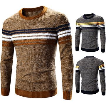 [ $28.58 ] #MensFashion #Casual Stripe O-neck Collar #Sweater Spell Color #Pullover #KnittedSweater