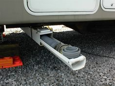 rv storage ideas | Under RV Sewer Hose Storage Tube made from Plastic Fence Post